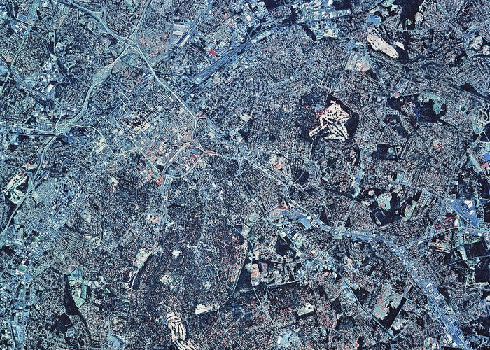Color Image Greeting Card featuring the photograph Satellite View Of Charlotte, North by Stocktrek Images