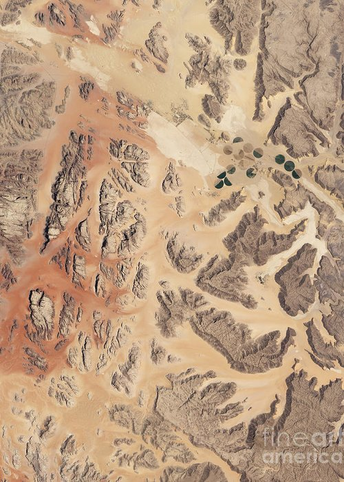No People Greeting Card featuring the photograph Satellite View Of Wadi Rum by Stocktrek Images