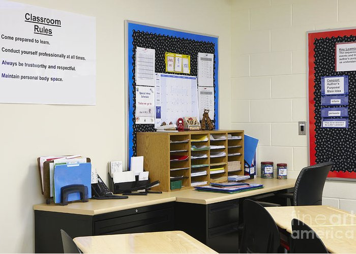 Accomplish Greeting Card featuring the photograph School Teachers Desk by Skip Nall