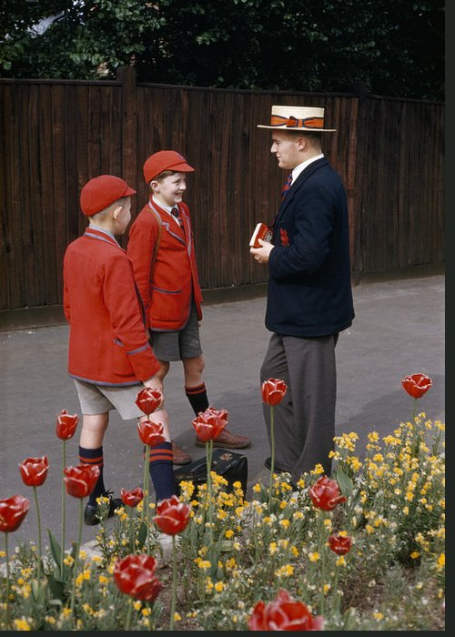 Schoolboys Chat With A Master At Kings Greeting Card by Franc Shor
