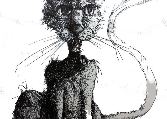 Cats Greeting Card featuring the drawing Scraggly Vampire Kiittie by Neal Cormier