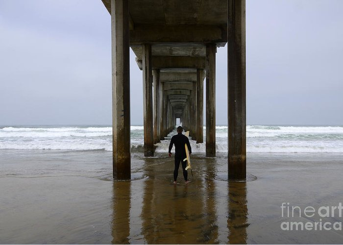 Scripps Pier Greeting Card featuring the photograph Scripps Pier Surfer 3 by Bob Christopher