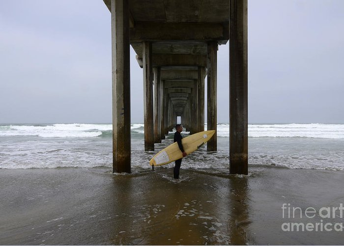 Scripps Pier Greeting Card featuring the photograph Scripps Pier Surfer by Bob Christopher