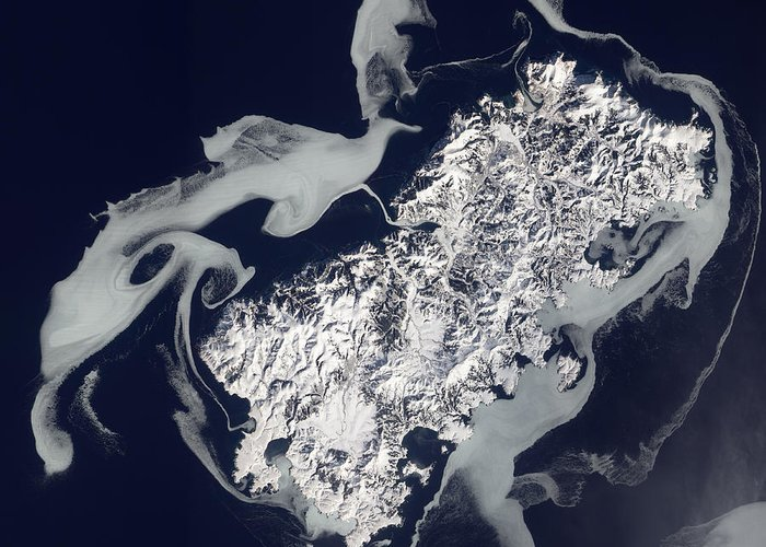 Shikotan Greeting Card featuring the photograph Sea Ice Surrounds The Volcanic Island by Stocktrek Images