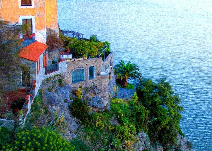 Seaside Villa Amalfi Greeting Card featuring the photograph Seaside Villa Amalfi by Bill Cannon