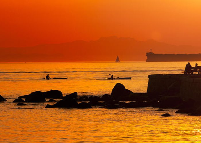 Stanley Park Greeting Card featuring the photograph Seawall Silhouette by Matt Trimble