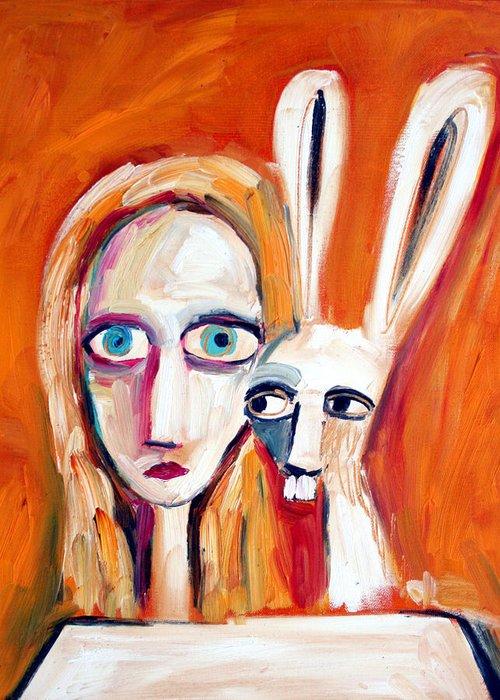 Alice In Wonderland Alice Greeting Card featuring the painting Seeking by Leanne Wilkes