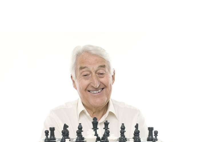 70s Greeting Card featuring the photograph Senior Man Playing Chess by