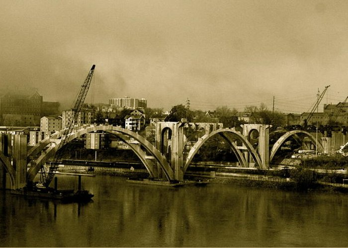 Bridge Greeting Card featuring the photograph Sepia Awakenings by Jeanne Thomas