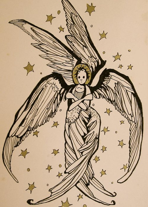 Seraphim Angel Greeting Card featuring the drawing Seraphim by Jackie Rock