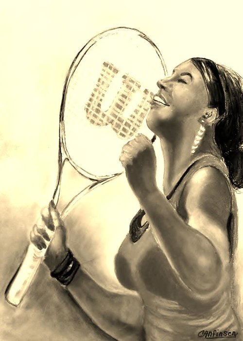 Serena Greeting Card featuring the drawing Serena In Sepia by Carol Allen Anfinsen