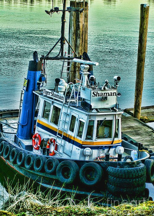 Boats Greeting Card featuring the photograph Shaman Tug-hdr by Randy Harris