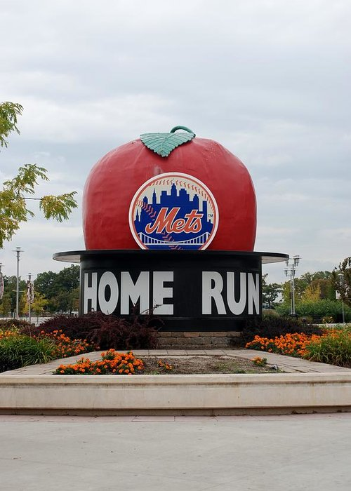 Shea Stadium Greeting Card featuring the photograph Shea Stadium Home Run Apple by Rob Hans