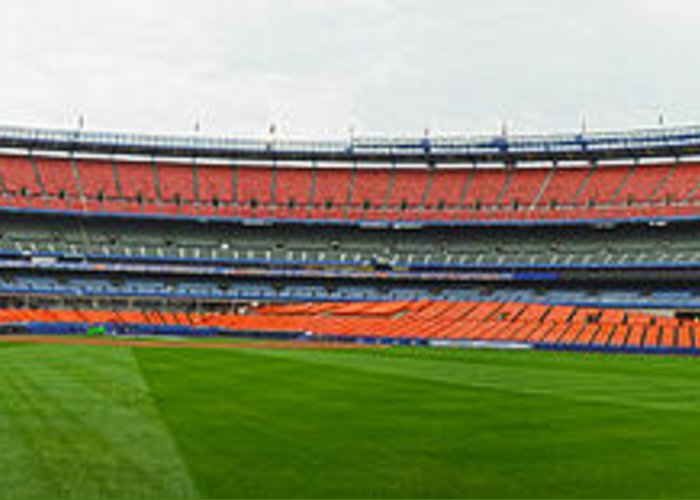 Panoramic Greeting Card featuring the photograph Shea Stadium Pano by Dennis Clark