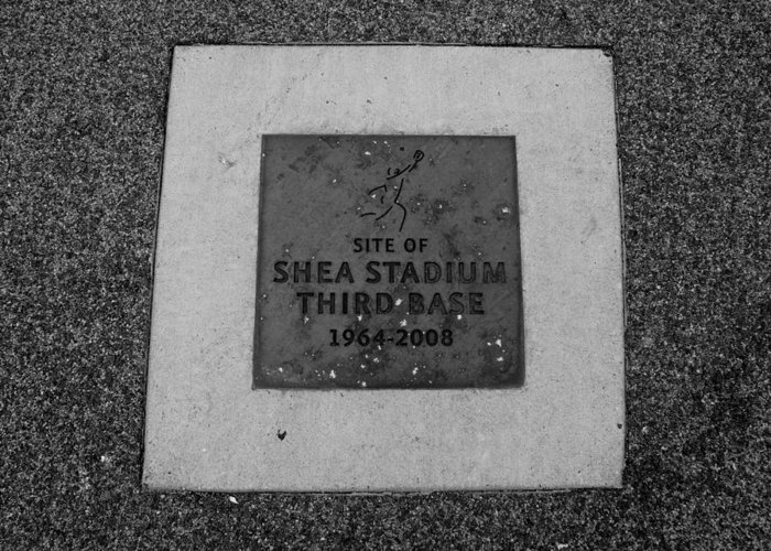 Shea Stadium Greeting Card featuring the photograph Shea Stadium Third Base In Black And White by Rob Hans