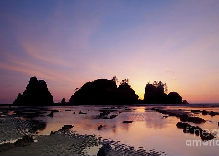 Water Photography Greeting Card featuring the photograph Shi Shi Beach by Keith Kapple