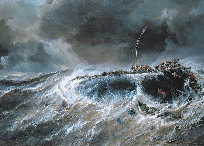 Boat Greeting Card featuring the painting Shipwreck by Louis Isabey