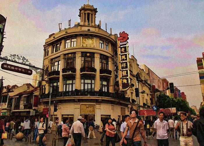 Shanghai Greeting Card featuring the photograph Shopping On The Bund - Shanghai China by Helaine Cummins
