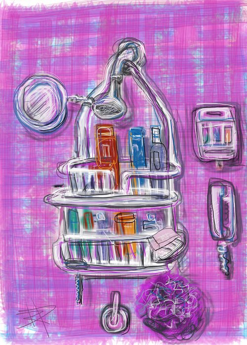 Shower Greeting Card featuring the mixed media Shower Time by Russell Pierce