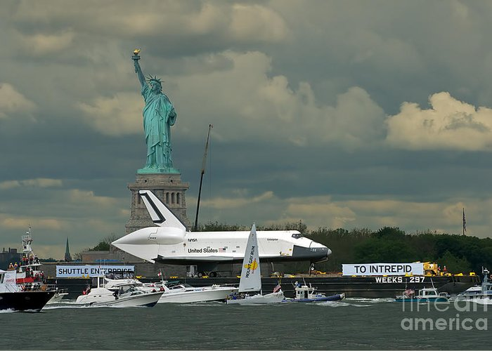 Space Shuttle Greeting Card featuring the photograph Shuttle Enterprise 3 by Tom Callan