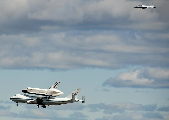 Shuttle Enterprise Greeting Card featuring the photograph Shuttle Enterprise And Escort by Roni Chastain