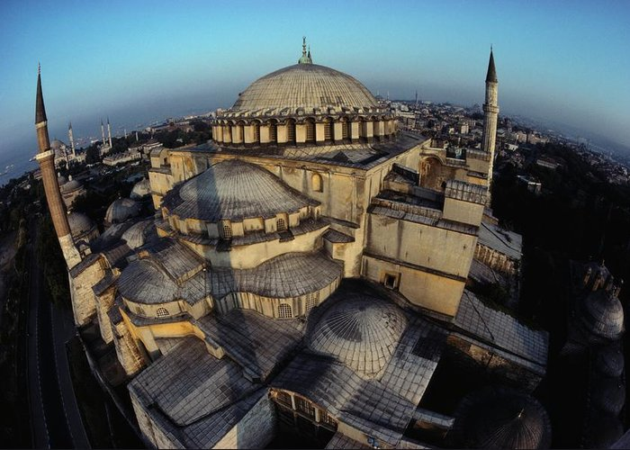 Hagia Sophia Greeting Card featuring the photograph Side Domes And Minarets Gather by James L. Stanfield