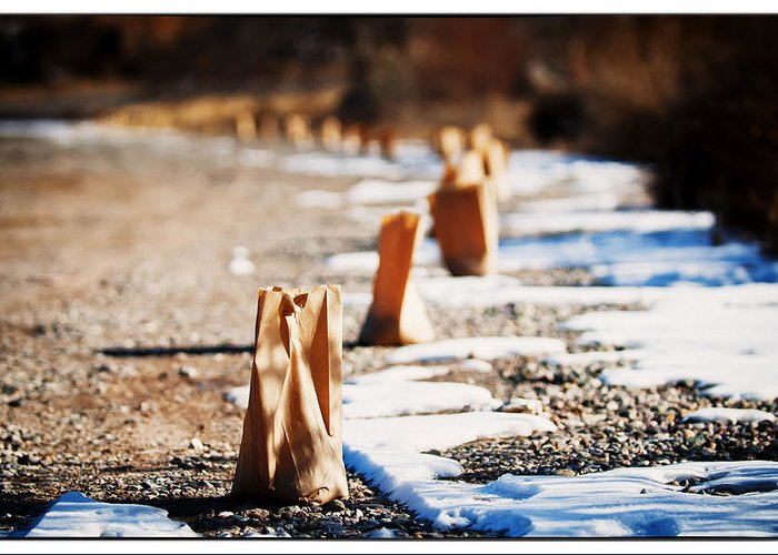 Taos Greeting Card featuring the photograph Side Road Luminaries by Lisa Spencer