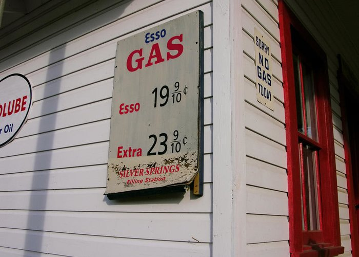 Day Greeting Card featuring the photograph Signs On A Historic Gas Station Offer by Amy White & Al Petteway
