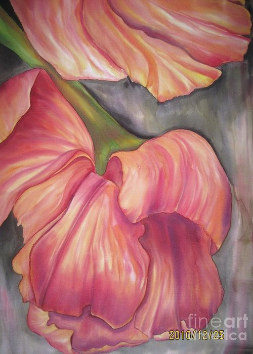 Tulips Greeting Card featuring the tapestry - textile Silky Tulips by Husna Rafath