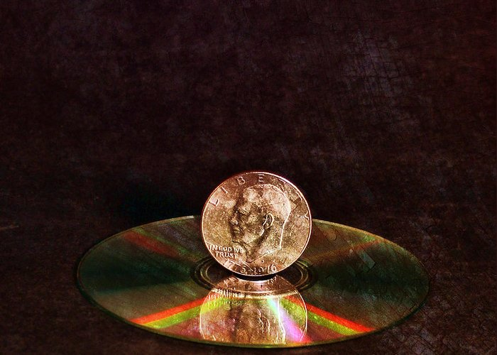 Still Life Greeting Card featuring the digital art Silver Dollar by Peter Chilelli