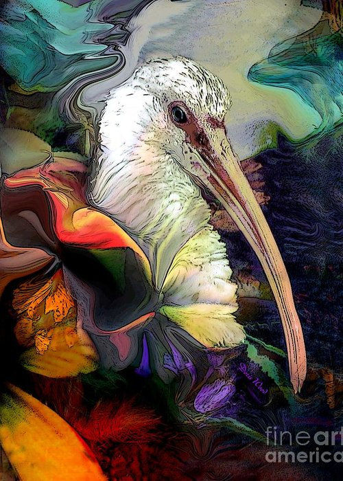 Digital Greeting Card featuring the digital art Sir Ibis by Doris Wood
