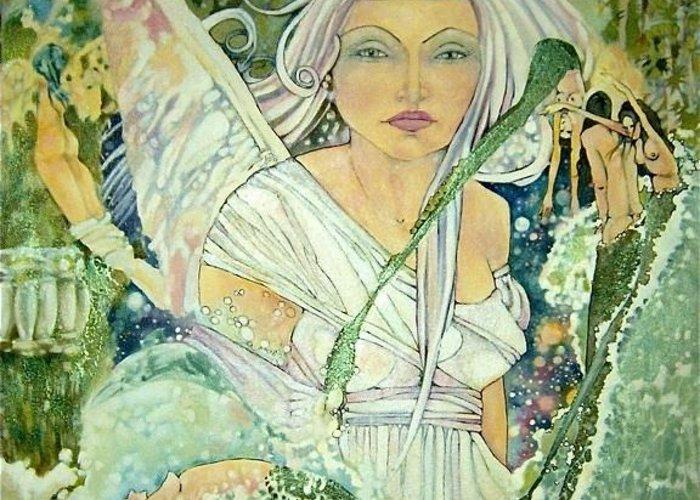 Angel Mermaids Ocean Greeting Card featuring the drawing Sister Angel by Jackie Rock