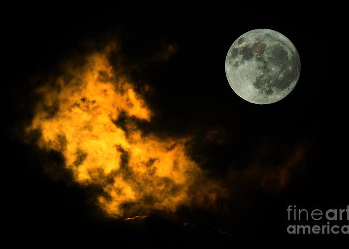 Nature Greeting Card featuring the digital art Sky And Moon by Odon Czintos