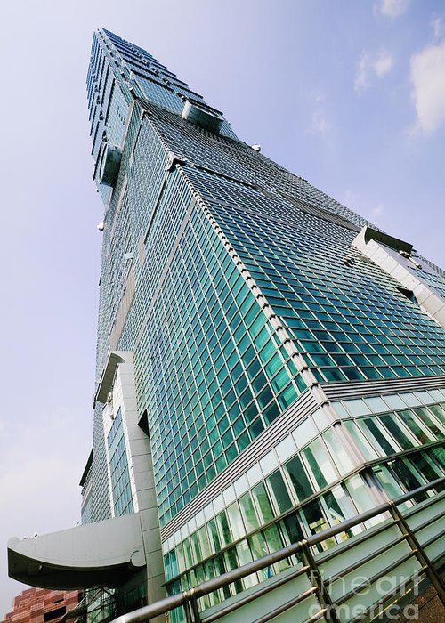 Architectural Detail Greeting Card featuring the photograph Skyscraper, Taipei 101 Building by Jeremy Woodhouse