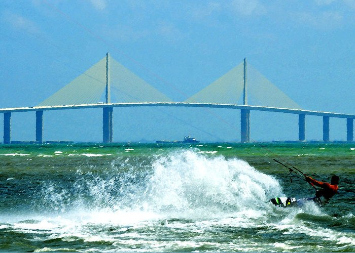 Art Greeting Card featuring the painting Skyway Splash by David Lee Thompson