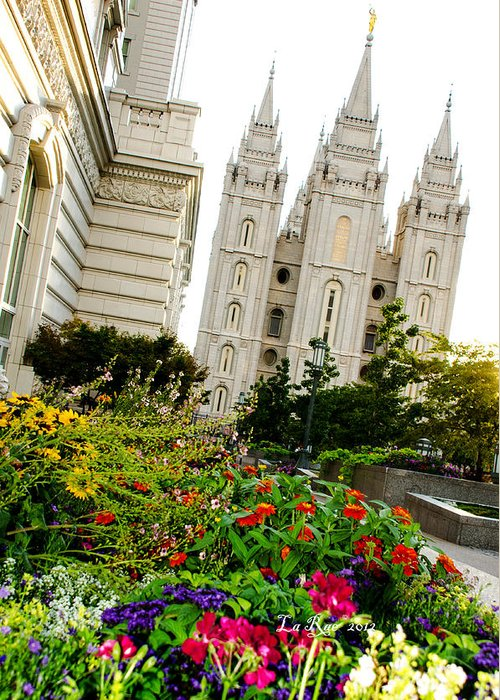 Mormon Temple Photography Greeting Card featuring the photograph Slc Slant by La Rae Roberts