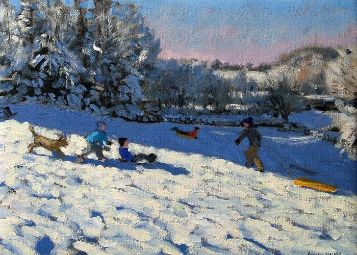 Sledge Greeting Card featuring the painting Sledging Near Youlgreave by Andrew Macara