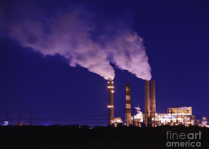Architecture Greeting Card featuring the photograph Smokestacks Billowing Smoke At Night by Skip Nall