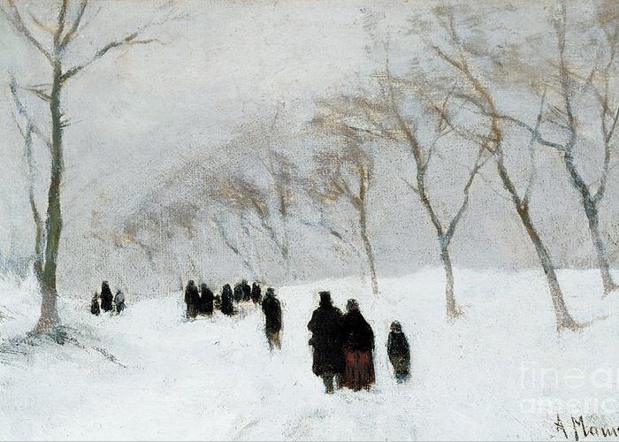 Winter Scene Greeting Card featuring the painting Snow Storm by Anton Mauve