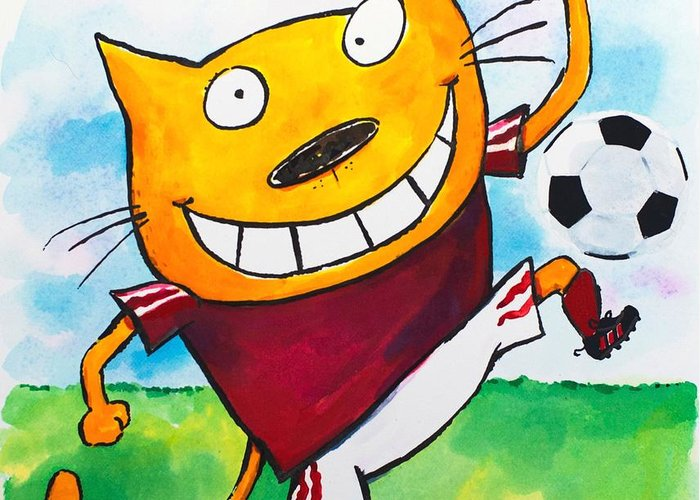 Cat Greeting Card featuring the painting Soccer Cat 2 by Scott Nelson