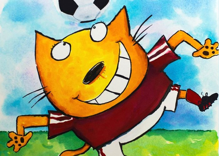 Cat Greeting Card featuring the painting Soccer Cat 4 by Scott Nelson