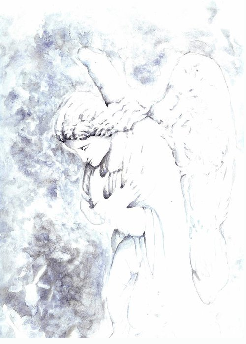 Angel Greeting Card featuring the painting Solace Angel by Lisa Buchanan