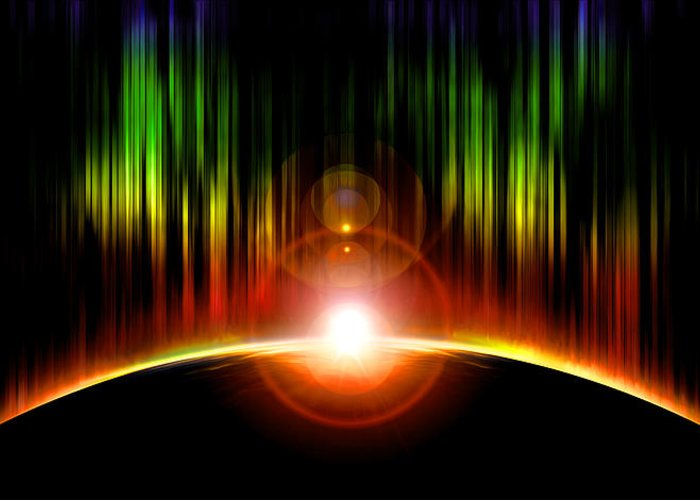 Abstract Greeting Card featuring the digital art Solar Eclipse by Svetlana Sewell