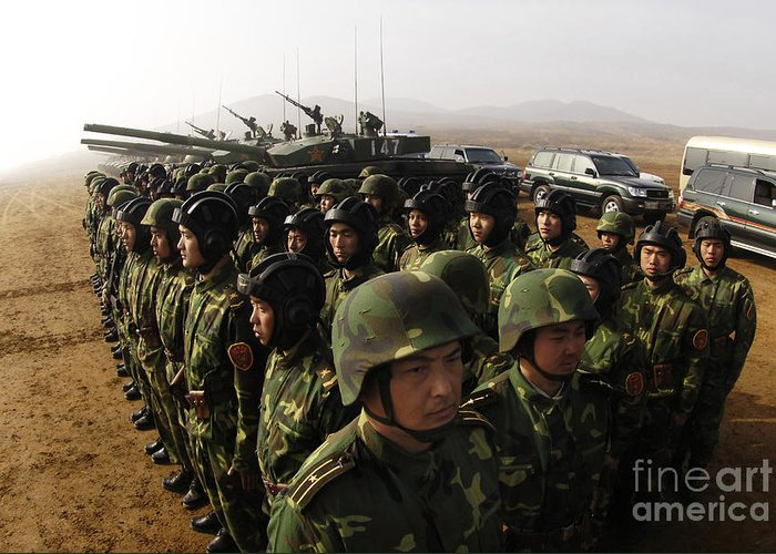 Battle Tanks Greeting Card featuring the photograph Soldiers With The Peoples Liberation by Stocktrek Images