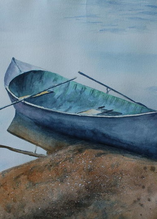 Canoe Greeting Card featuring the painting Solitude by Patsy Sharpe