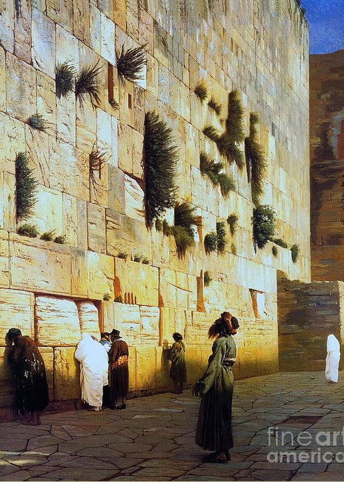 Pd Greeting Card featuring the painting Solomon's Wall Jerusalem by Pg Reproductions