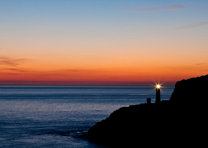 Acrylic Greeting Card featuring the photograph South Stack Lighthouse by Gary Finnigan