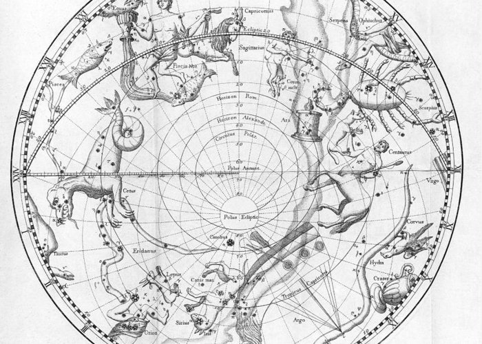 Star Greeting Card featuring the photograph Southern Celestial Map by Science, Industry & Business Librarynew York Public Library