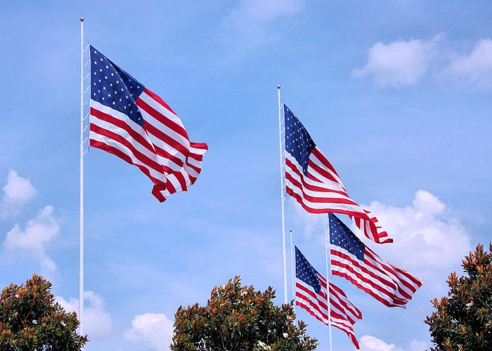 American Flag Greeting Card featuring the photograph Southern Skies by Kristin Elmquist