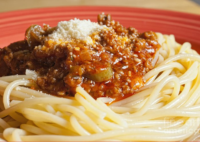 Spaghetti Bolognese Greeting Card featuring the photograph Spaghetti Bolognese Dish by Andre Babiak